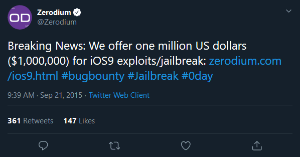 iOS bounties surpass $1 million dollars